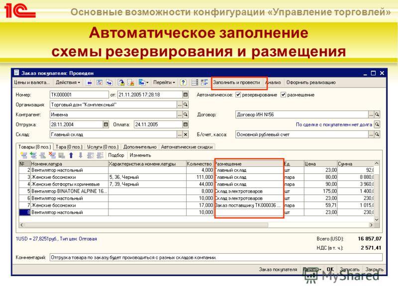 Основные возможности конфигурации «Управление торговлей» Автоматическое заполнение схемы резервирования и размещения