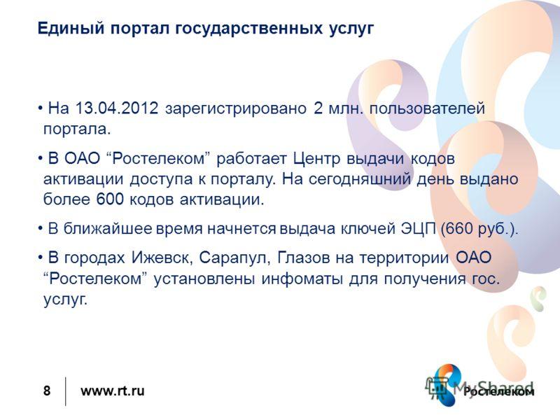 www.rt.ru Единый портал государственных услуг На 13.04.2012 зарегистрировано 2 млн. пользователей портала. В ОАО Ростелеком работает Центр выдачи кодов активации доступа к порталу. На сегодняшний день выдано более 600 кодов активации. В ближайшее вре
