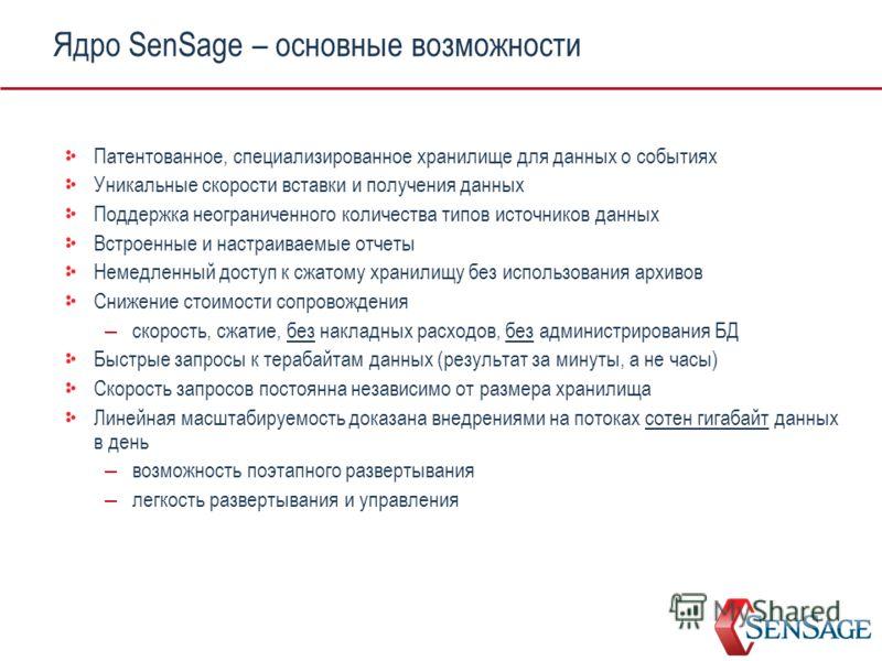 Ядро SenSage – основные возможности Патентованное, специализированное хранилище для данных о событиях Уникальные скорости вставки и получения данных Поддержка неограниченного количества типов источников данных Встроенные и настраиваемые отчеты Немедл
