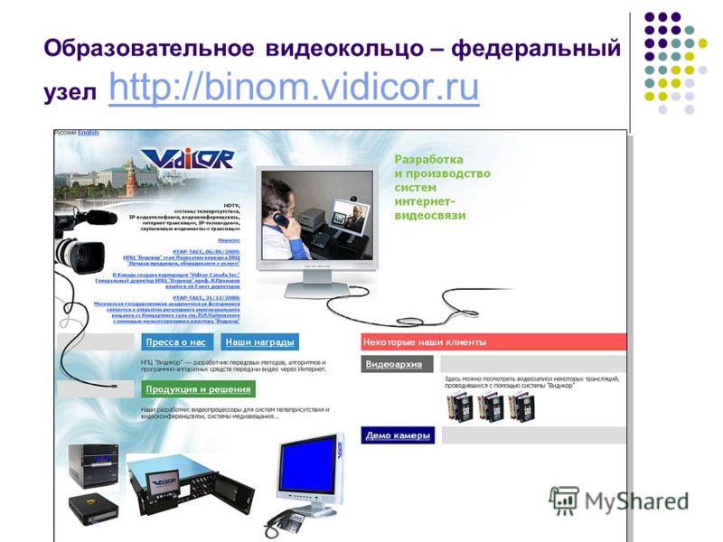Образовательное видеокольцо – федеральный узел http://binom.vidicor.ruhttp://binom.vidicor.ru