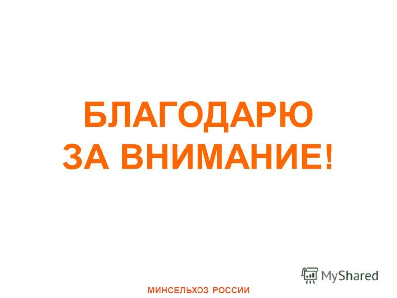 БЛАГОДАРЮ ЗА ВНИМАНИЕ! МИНСЕЛЬХОЗ РОССИИ