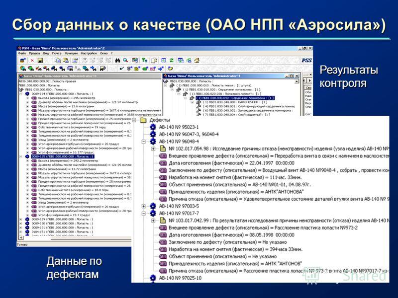 Сбор данных о качестве (ОАО НПП «Аэросила») Результаты контроля Данные по дефектам
