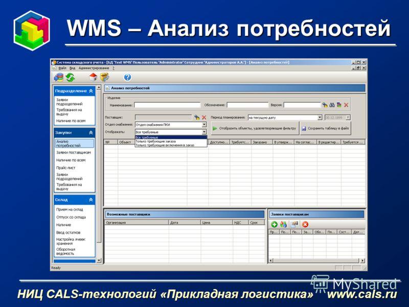 WMS – Анализ потребностей НИЦ CALS-технологий «Прикладная логистика» www.cals.ru