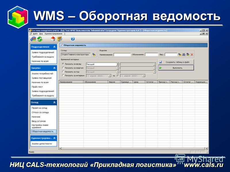 WMS – Оборотная ведомость НИЦ CALS-технологий «Прикладная логистика» www.cals.ru