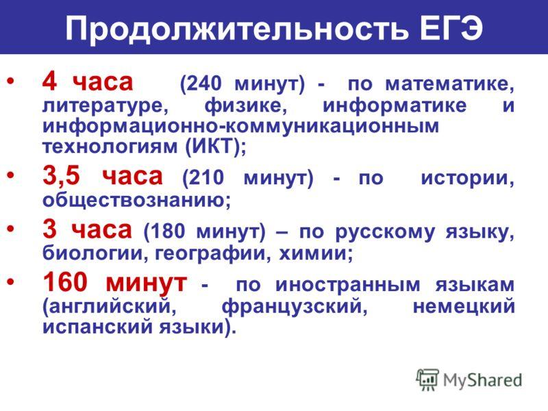 Продолжительность ЕГЭ 4 часа (240 минут) - по математике, литературе, физике, информатике и информационно-коммуникационным технологиям (ИКТ); 3,5 часа (210 минут) - по истории, обществознанию; 3 часа (180 минут) – по русскому языку, биологии, географ