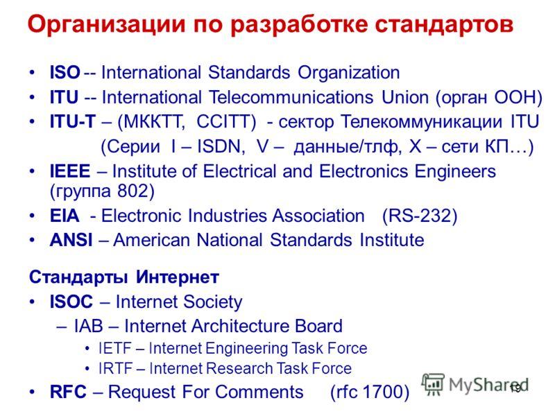 19 Организации по разработке стандартов ISO-- International Standards Organization ITU -- International Telecommunications Union (орган ООН) ITU-T – (МККТТ, ССITT) - сектор Телекоммуникации ITU (Серии I – ISDN, V – данные/тлф, X – сети КП…) IEEE – In