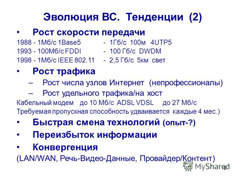 8 Эволюция ВС. Тенденции (2) Рост скорости передачи 1988 - 1Мб/с 1Base5 - 1Гб/c 100м 4UTP5 1993 - 100Mб/c FDDI- 100 Гб/сDWDM 1998 - 1Мб/с IEEE 802.11- 2,5 Гб/с 5км свет Рост трафика –Рост числа узлов Интернет (непрофессионалы) –Рост удельного трафика