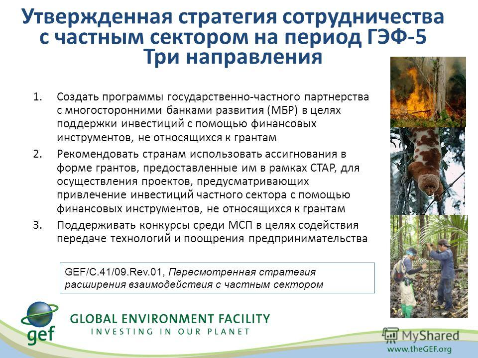 Утвержденная стратегия сотрудничества с частным сектором на период ГЭФ-5 Три направления 1.Создать программы государственно-частного партнерства с многосторонними банками развития (МБР) в целях поддержки инвестиций с помощью финансовых инструментов,