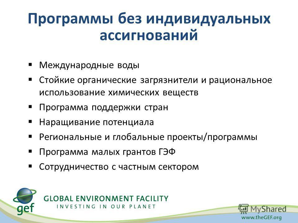 Программы без индивидуальных ассигнований Международные воды Стойкие органические загрязнители и рациональное использование химических веществ Программа поддержки стран Наращивание потенциала Региональные и глобальные проекты/программы Программа малы