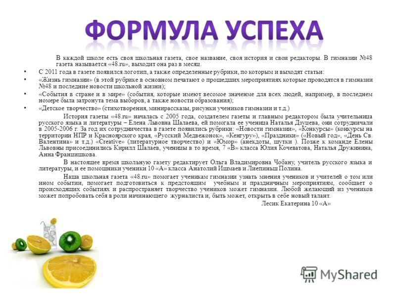 В каждой школе есть своя школьная газета, свое название, своя история и свои редакторы. В гимназии 48 газета называется «48.ru», выходит она раз в месяц. С 2011 года в газете появился логотип, а также определенные рубрики, по которым и выходят статьи