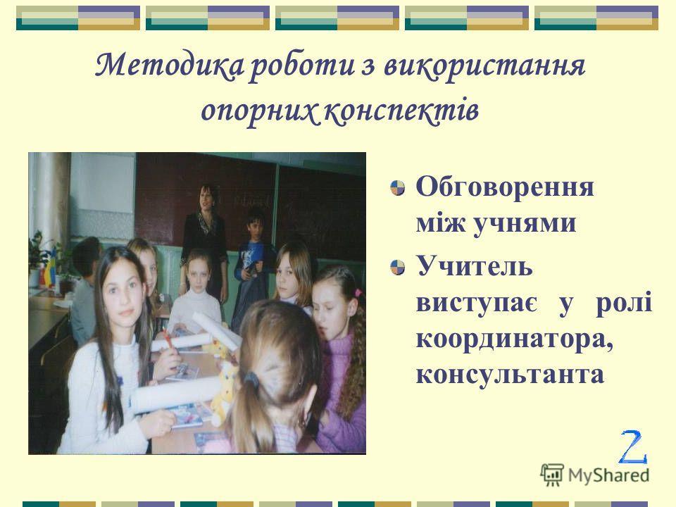 Методика роботи з використання опорних конспектів Обговорення між учнями Учитель виступає у ролі координатора, консультанта