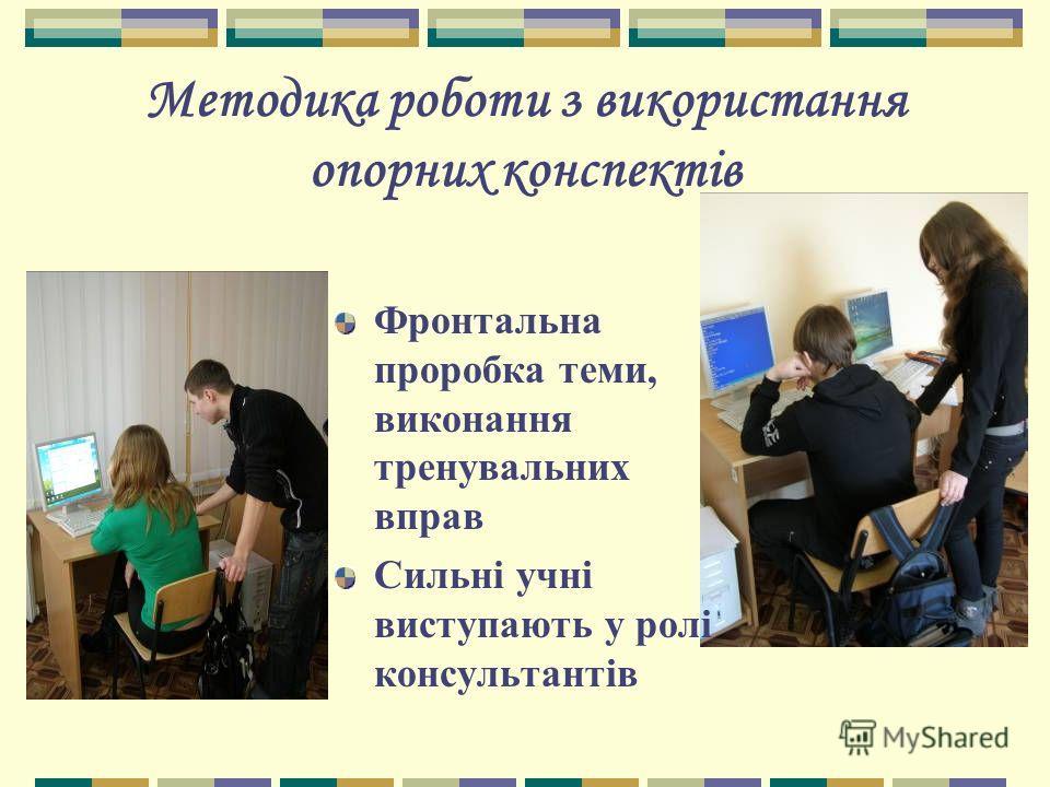 Методика роботи з використання опорних конспектів Фронтальна проробка теми, виконання тренувальних вправ Сильні учні виступають у ролі консультантів