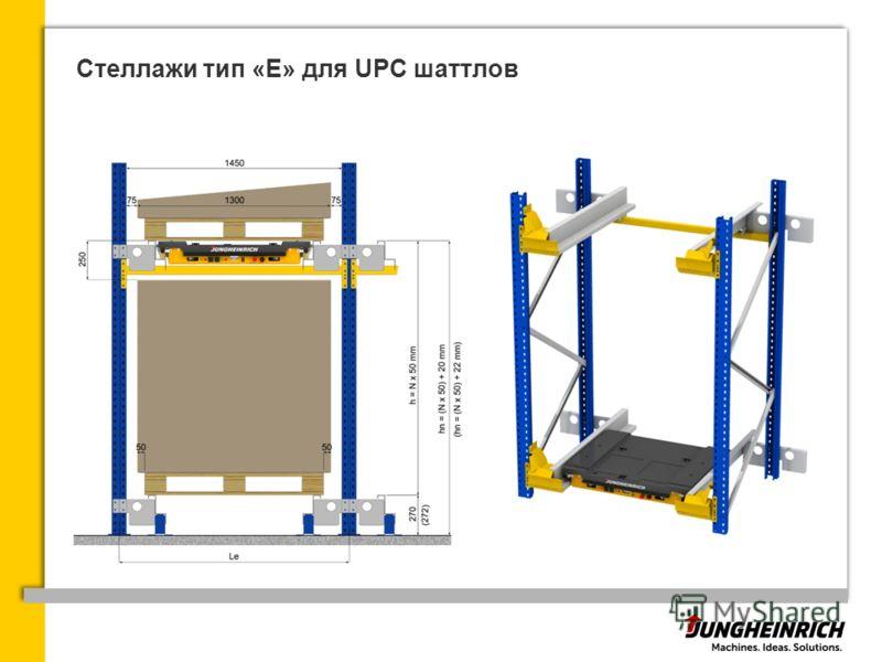 Стеллажи тип «Е» для UPC шаттлов