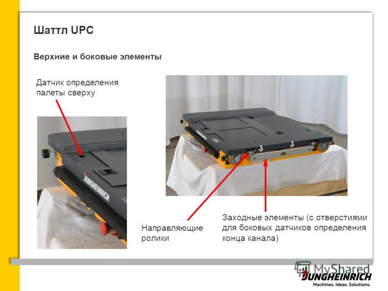 Шаттл UPC Верхние и боковые элементы Датчик определения палеты сверху Заходные элементы (с отверстиями для боковых датчиков определения конца канала) Направляющие ролики