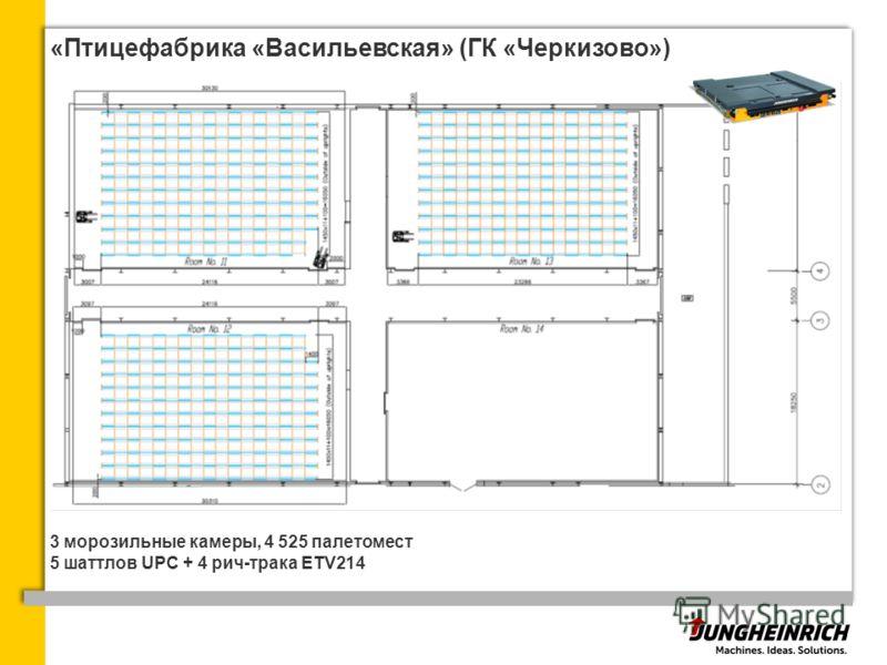 «Птицефабрика «Васильевская» (ГК «Черкизово») 3 морозильные камеры, 4 525 палетомест 5 шаттлов UPC + 4 рич-трака ETV214