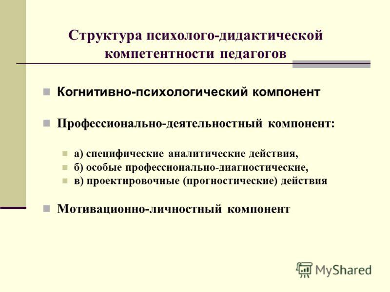 Структура психолого-дидактической компетентности педагогов Когнитивно-психологический компонент Профессионально-деятельностный компонент: а) специфические аналитические действия, б) особые профессионально-диагностические, в) проектировочные (прогност