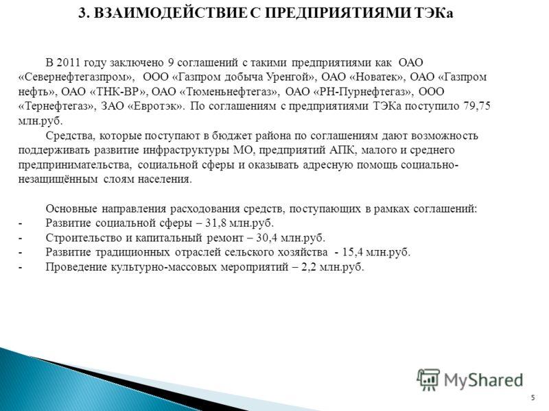 5 3. ВЗАИМОДЕЙСТВИЕ С ПРЕДПРИЯТИЯМИ ТЭКа В 2011 году заключено 9 соглашений с такими предприятиями как ОАО «Севернефтегазпром», ООО «Газпром добыча Уренгой», ОАО «Новатек», ОАО «Газпром нефть», ОАО «ТНК-ВР», ОАО «Тюменьнефтегаз», ОАО «РН-Пурнефтегаз»