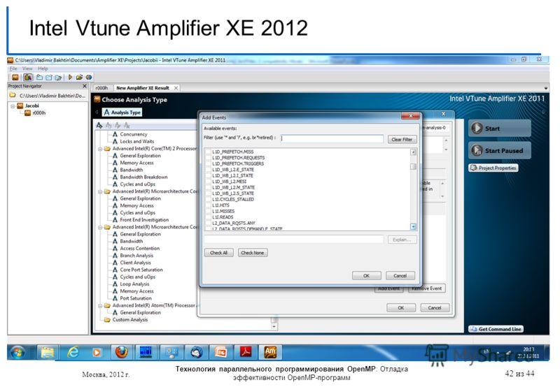 Технология параллельного программирования OpenMP: Отладка эффективности OpenMP-программ Москва, 2012 г. 42 из 44 Intel Vtune Amplifier XE 2012