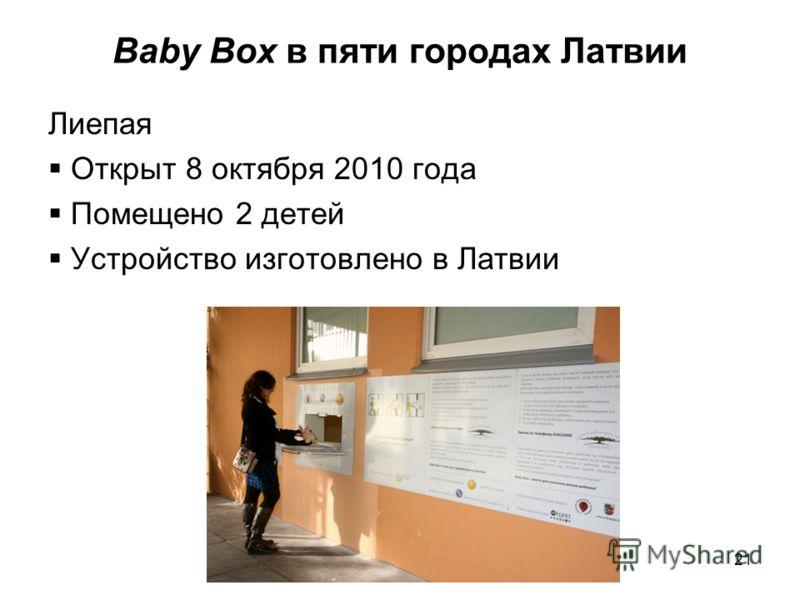 Baby Box в пяти городах Латвии Лиепая Открыт 8 октября 2010 года Помещено 2 детей Устройство изготовлено в Латвии 21