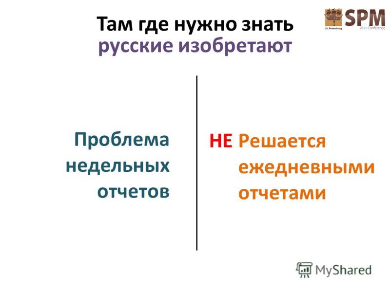 Проблема недельных отчетов Решается ежедневными отчетами НЕ Там где нужно знать русские изобретают