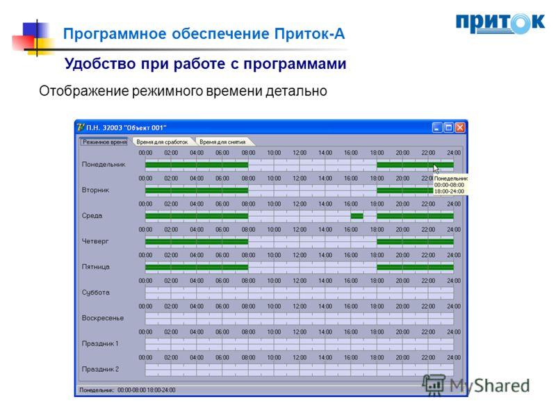 Программное обеспечение Приток-А Удобство при работе с программами Отображение режимного времени детально