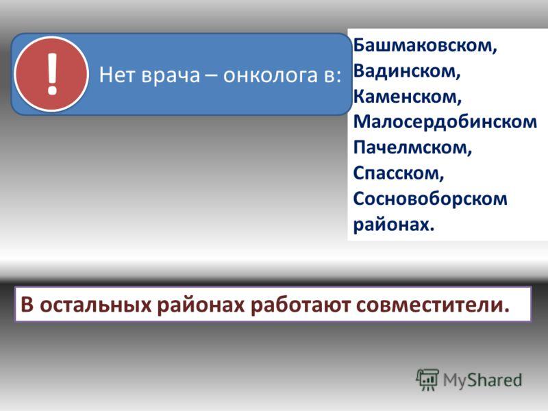 Башмаковском, Вадинском, Каменском, Малосердобинском Пачелмском, Спасском, Сосновоборском районах. Нет врача – онколога в: ! ! В остальных районах работают совместители.