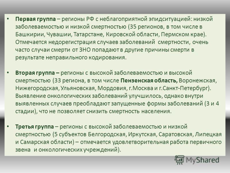 Первая группа – регионы РФ с неблагоприятной эпидситуацией: низкой заболеваемостью и низкой смертностью (35 регионов, в том числе в Башкирии, Чувашии, Татарстане, Кировской области, Пермском крае). Отмечается недорегистрация случаев заболеваний смерт