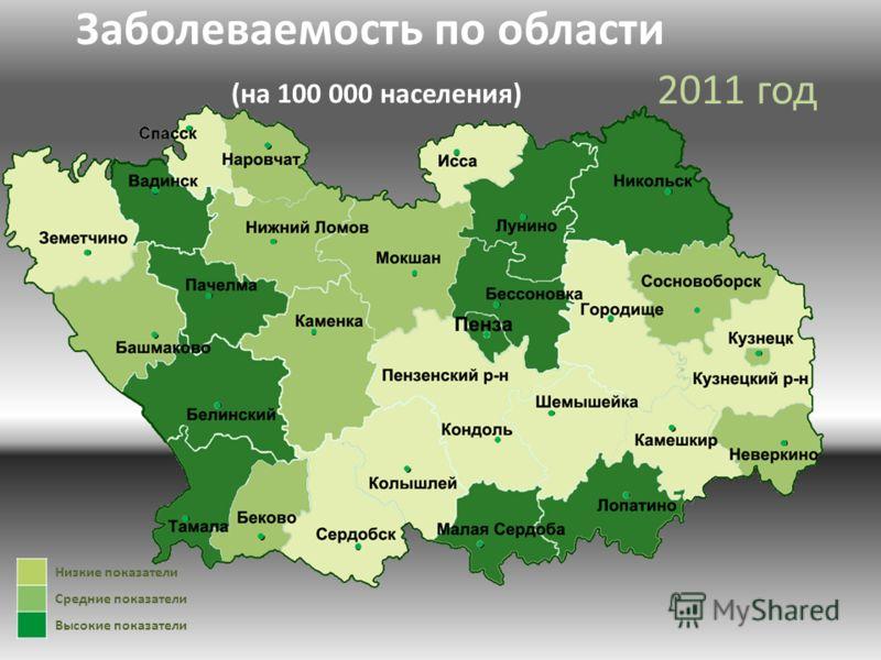 2011 год Заболеваемость по области (на 100 000 населения) Низкие показатели Средние показатели Высокие показатели