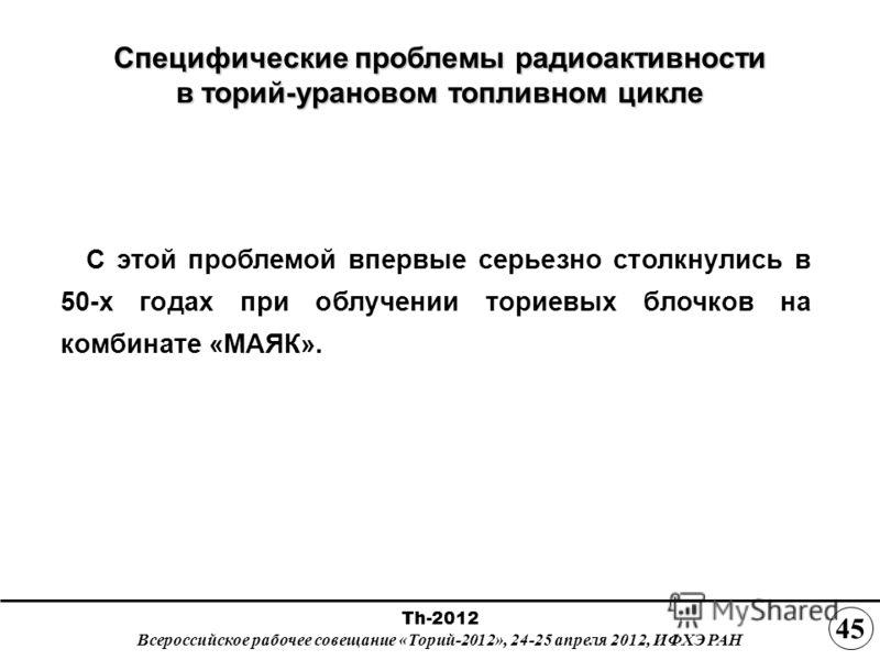 Специфические проблемы радиоактивности в торий-урановом топливном цикле С этой проблемой впервые серьезно столкнулись в 50-х годах при облучении ториевых блочков на комбинате «МАЯК». Th-2012 Всероссийское рабочее совещание «Торий-2012», 24-25 апреля