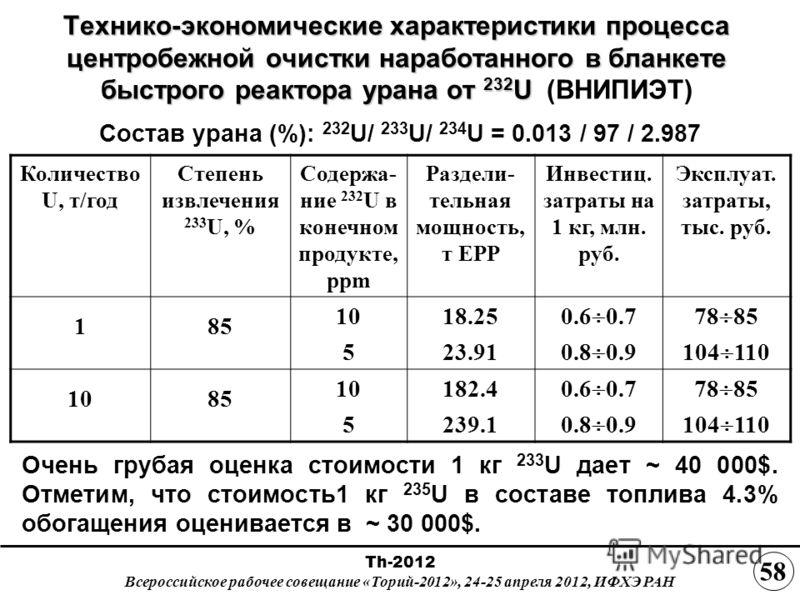 Технико-экономические характеристики процесса центробежной очистки наработанного в бланкете быстрого реактора урана от 232 U Технико-экономические характеристики процесса центробежной очистки наработанного в бланкете быстрого реактора урана от 232 U
