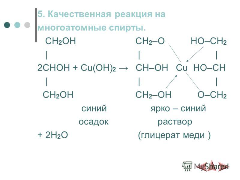 5. Качественная реакция на многоатомные спирты. CH 2 OH CH 2 –O HO–CH 2 | | | 2CHOH + Cu(OH) 2 CH–OH Cu HO–CH | | | CH 2 OH CH 2 –OH O–CH 2 синий ярко – синий осадок раствор + 2H 2 O (глицерат меди )