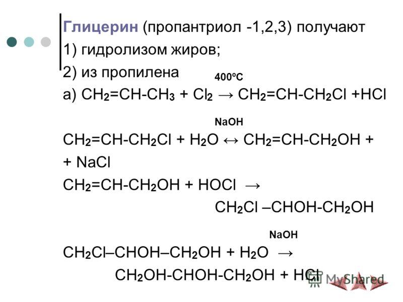 Глицерин (пропантриол -1,2,3) получают 1) гидролизом жиров; 2) из пропилена 400ºС а) CH 2 =CH-CH 3 + Cl 2 CH 2 =CH-CH 2 Cl +HCl NaOH CH 2 =CH-CH 2 Cl + H 2 O CH 2 =CH-CH 2 OH + + NaCl CH 2 =CH-CH 2 OH + HOCl CH 2 Cl –CHOH-CH 2 OH NaOH CH 2 Cl–CHOH–CH