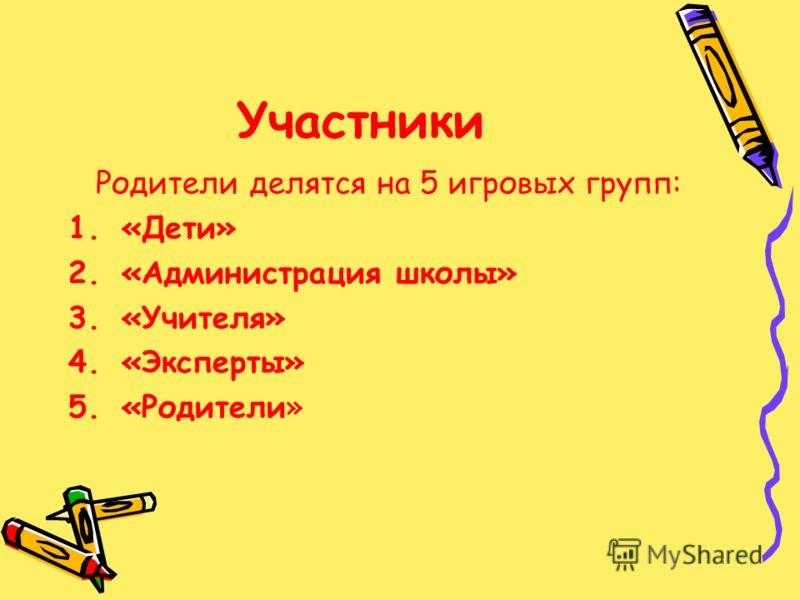 Участники Родители делятся на 5 игровых групп: 1.«Дети» 2.«Администрация школы» 3.«Учителя» 4.«Эксперты» 5.«Родители»
