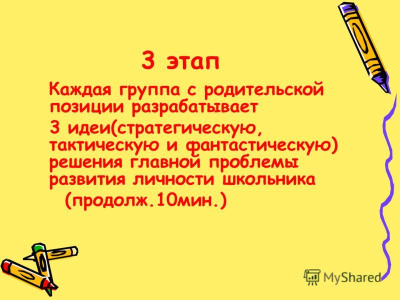 3 этап Каждая группа с родительской позиции разрабатывает 3 идеи(стратегическую, тактическую и фантастическую) решения главной проблемы развития личности школьника (продолж.10мин.)