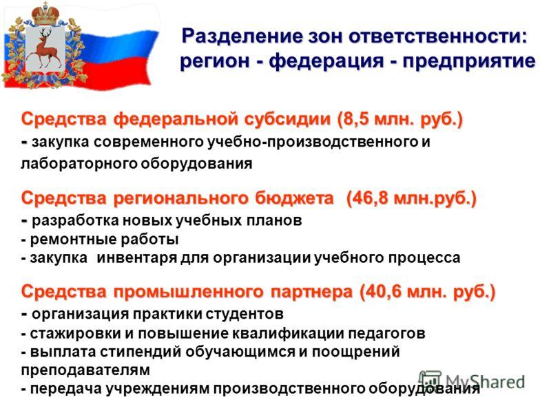 Средства федеральной субсидии (8,5 млн. руб.) - Средства регионального бюджета (46,8 млн.руб.) - Средства промышленного партнера (40,6 млн. руб.) Средства федеральной субсидии (8,5 млн. руб.) - закупка современного учебно-производственного и лаборато