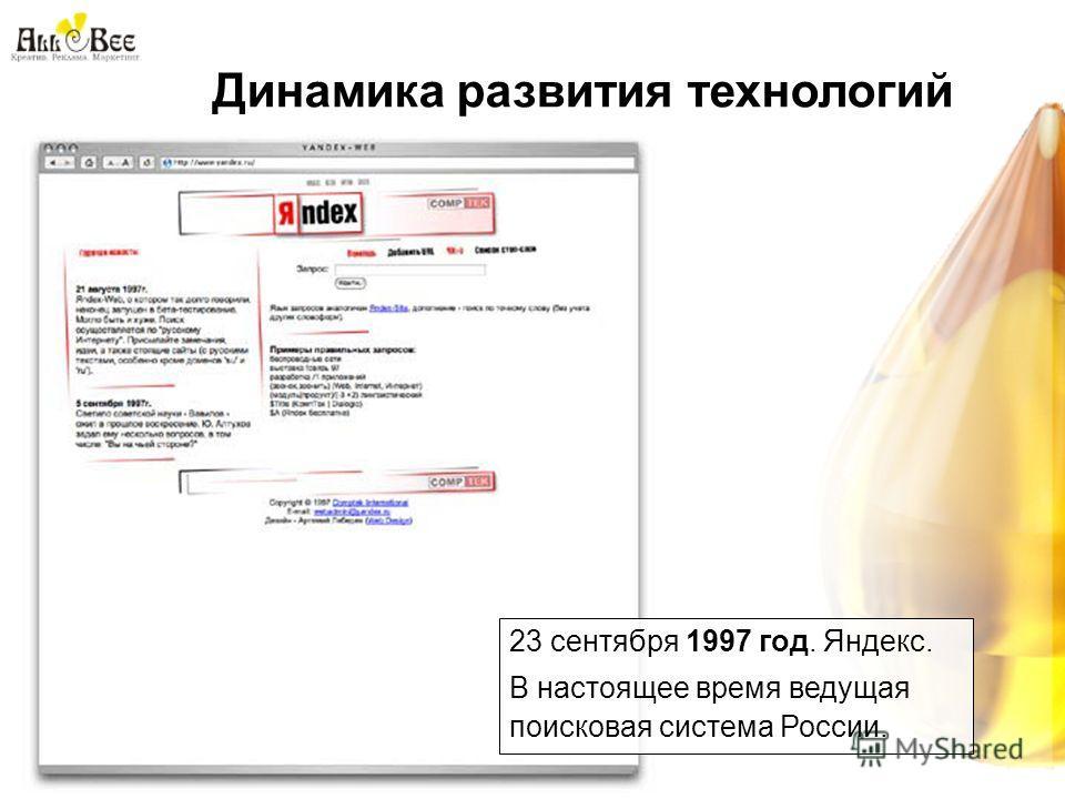 Динамика развития технологий 23 сентября 1997 год. Яндекс. В настоящее время ведущая поисковая система России.