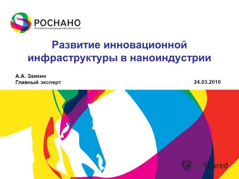 Развитие инновационной инфраструктуры в наноиндустрии А.А. Заикин Главный эксперт 24.03.2010