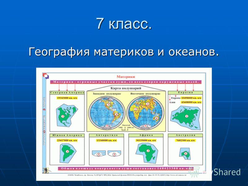 7 класс. География материков и океанов.