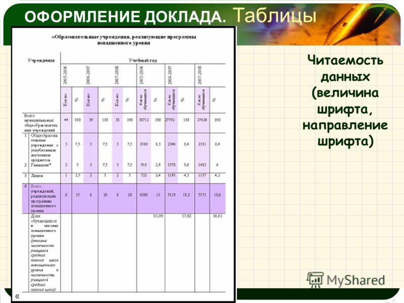 ОФОРМЛЕНИЕ ДОКЛАДА. Таблицы Читаемость данных (величина шрифта, направление шрифта)