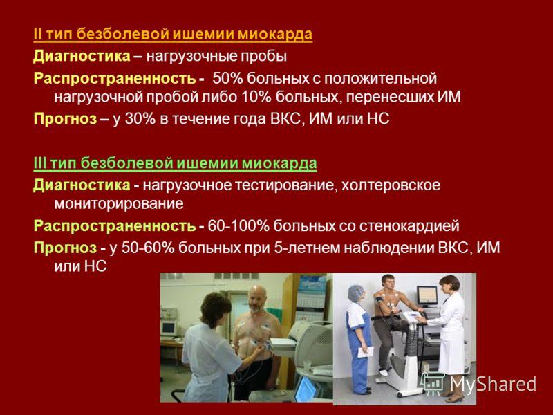 ІІ тип безболевой ишемии миокарда Диагностика – нагрузочные пробы Распространенность - 50% больных с положительной нагрузочной пробой либо 10% больных, перенесших ИМ Прогноз – у 30% в течение года ВКС, ИМ или НС ІІІ тип безболевой ишемии миокарда Диа