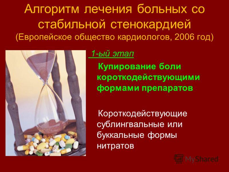Алгоритм лечения больных со стабильной стенокардией (Европейское общество кардиологов, 2006 год) 1-ый этап Купирование боли короткодействующими формами препаратов Короткодействующие сублингвальные или буккальные формы нитратов