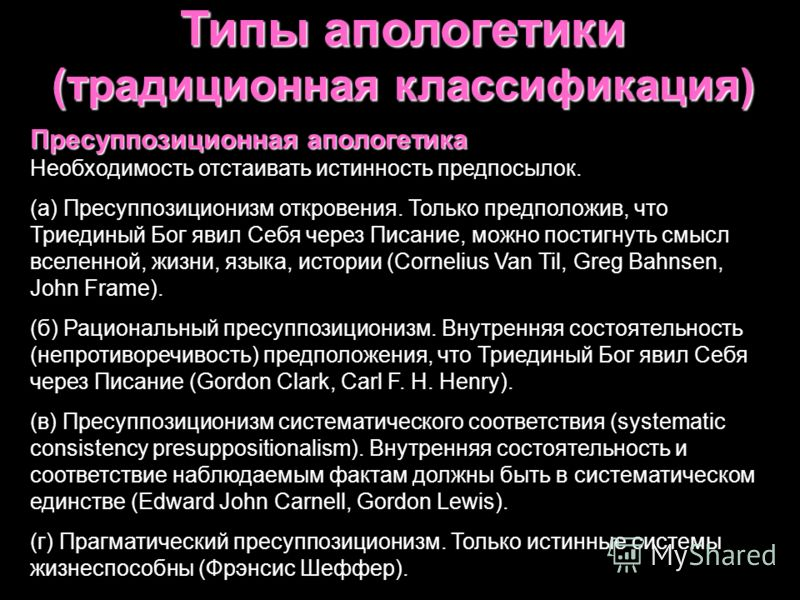 Типы апологетики (традиционная классификация) Экспериентальная Экспериентальная апологетика Личные переживания как христианское свидетельство. Крайности: (а) мистицизм – особый характер религиозного опыта; (б) экзистенциализм – самодостаточный вне-ра