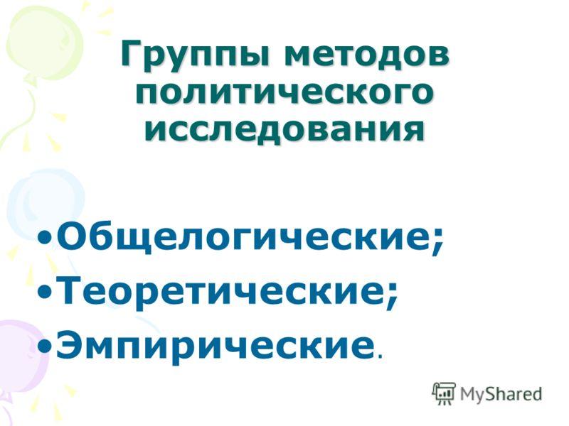 Группы методов политического исследования Общелогические; Теоретические; Эмпирические.