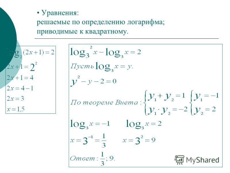 Уравнения: решаемые по определению логарифма; приводимые к квадратному.