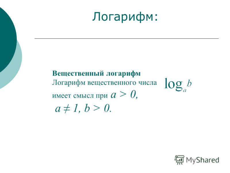 Вещественный логарифм Логарифм вещественного числа имеет смысл при а > 0, а 1, b > 0. Логарифм: