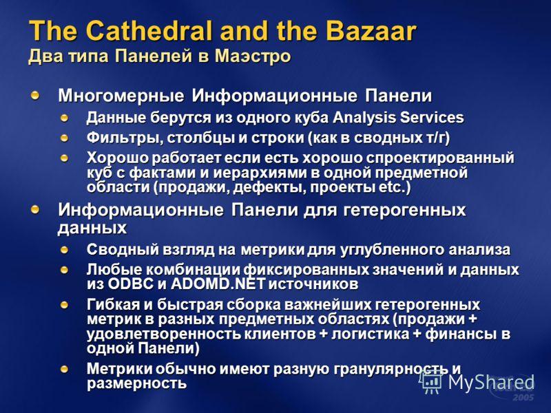 The Cathedral and the Bazaar Два типа Панелей в Маэстро Многомерные Информационные Панели Данные берутся из одного куба Analysis Services Фильтры, столбцы и строки (как в сводных т/г) Хорошо работает если есть хорошо спроектированный куб с фактами и
