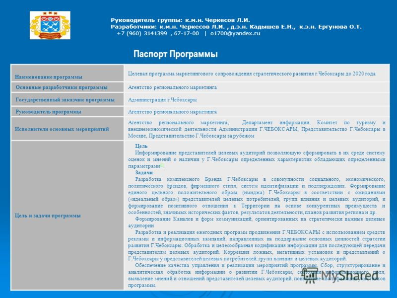 Руководитель группы: к.м.н. Черкесов Л.И. Разработчики: к.м.н. Черкесов Л.И., д.э.н. Кадышев Е.Н., к.э.н. Ергунова О.Т. +7 (960) 3141399, 67-17-00 | o1700@yandex.ru Паспорт Программы Наименование программы Целевая программа маркетингового сопровожден