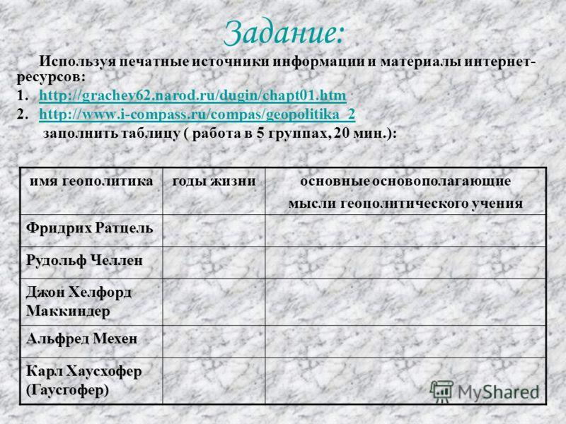 Задание: Используя печатные источники информации и материалы интернет- ресурсов: 1.http://grachev62.narod.ru/dugin/chapt01.htmhttp://grachev62.narod.ru/dugin/chapt01.htm 2.http://www.i-compass.ru/compas/geopolitika_2http://www.i-compass.ru/compas/geo