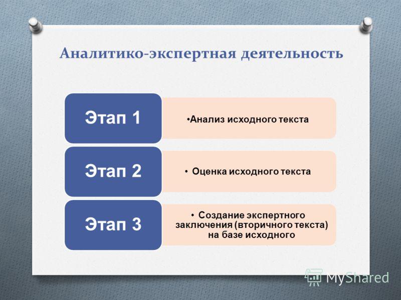 Аналитико-экспертная деятельность Анализ исходного текста Этап 1 Оценка исходного текста Этап 2 Создание экспертного заключения (вторичного текста) на базе исходного Этап 3