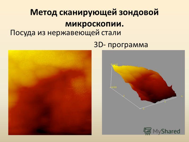 Метод сканирующей зондовой микроскопии. Посуда из нержавеющей стали 3D- программа